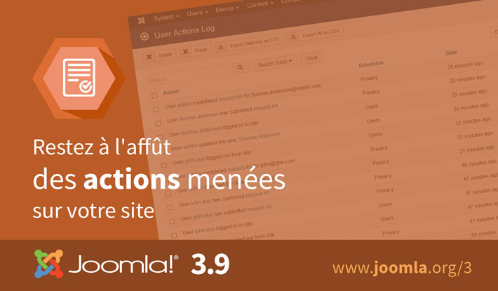 Journal des actions Joomla 3.9