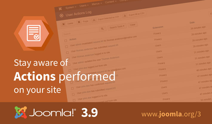 Joomla 3.9 Actions Log