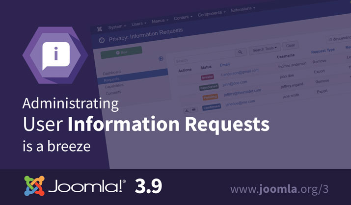 Joomla 3.9 Information Requests